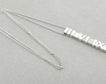 Tiffany & Co Silver Large Atlas Matte Bar Dangling Pendant Necklace
