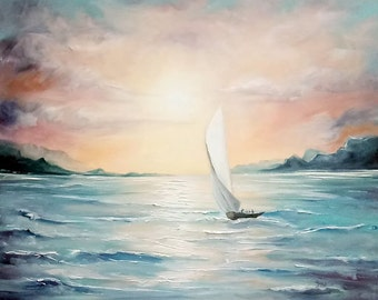 Seascape. Lonely sail