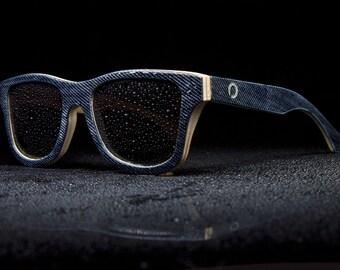2017 Spring Eyewear, Real Denim Sunglasses, Walnut Wood Eyewear, Recycled denim fabric | Gift for him | Gift for her