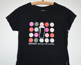 Ladies OFFICIAL MERCHANDISE Guinness fitted Tshirt , UK Size 8/10