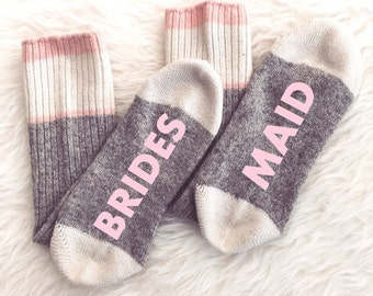 Bridesmaid Socks, Maid of Honor Socks, Wedding Favors Bridal Party Socks Custom Socks Wedding Gift Bridesmaid Gift Present Customized Socks