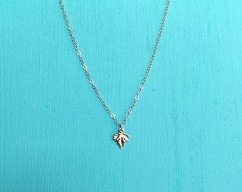 Gold filled dainty leaf necklace