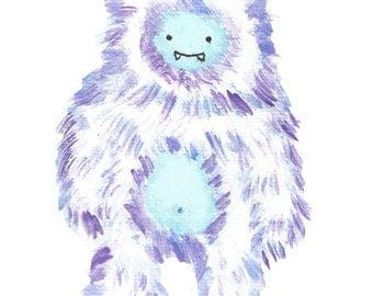 Yeti Snow Monster 5x7 Watercolor Digital Print-INSTANT DOWNLOAD