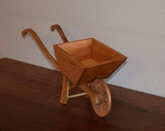 Handmade Decorative Wood Wheelbarrow