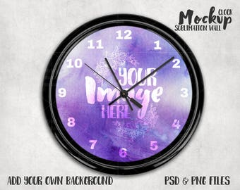 Sublimation wall clock with black frame template mockup   Add your own image and background