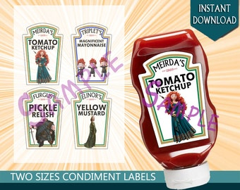 Disney Brave Condiment Bottle Labels, Birthday Party Decoration, Merida, Triplets, Fergus, Eliron Heinz Label - Instant Download