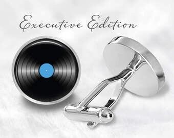 Vinyl Record Cufflinks - Music Cuff Links - Blue Vinyl Cuff Links (Pair) Lifetime Guarantee (S0909)