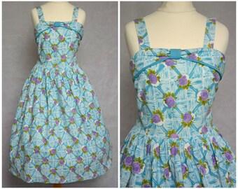Vintage Original Pretty Floral 1950s Cotton Dress Rose Print UK 6-8 XS S