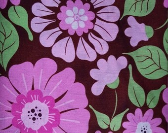 La-di-draw Floral Calico Collection Pink/Brown Cotton Farbric by Patty Reed Fabric Traditions, Fabric by the Yard