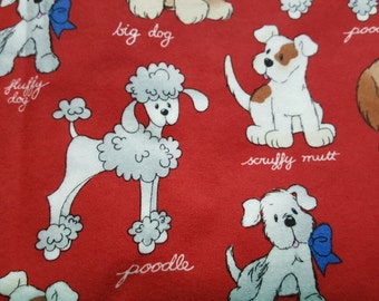 Dog Size Snuggle Flannel Print Patty Reed Designs for Fabric Traditions, Red Fabric by the Yard