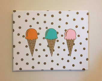 Ice Cream Cones, Orange, Green, and Pink with Gold Dots, 8x10 in. Canvas