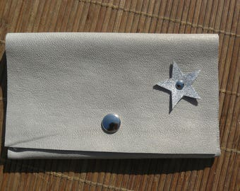 Glitter silver Golden leather pouch