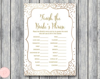 Gold Finish the Bride's phrase game, Complete the phrase , Bridal shower game, Bridal shower activity, Printable Game WD93 TH62