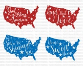 4th of July svg From sea to shining sea Land that I love God Bless America svg Patriotic SVG DXF EPS Silhouette Studio Cricut Design Space