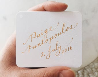 Custom Favour Bonbonnière Tags for Baby Showers Christenings Weddings Baptisms Hand Calligraphy