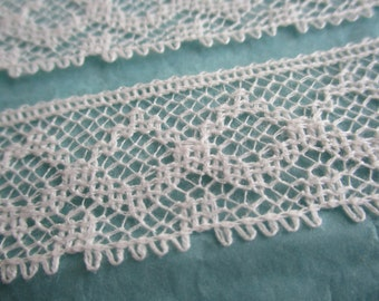 Vintage lace trim made in England  - 1 yard/white/2.5cm