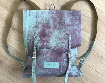 Leather backpack, purple and turquoise blue leather backpack