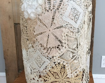 Rustic farm chic doily lace lamp shade; home decor, vintage, handmade, prairie style.
