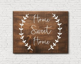 Home Sweet Home Wooden Sign - Porch Home Sign - Rustic Home Sweet Home Sign - Patio Home Sign - Home Sign with Wreath - Home Sweet Home Sign