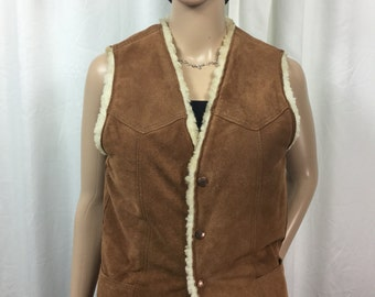 CARROLL suede/leather sherpa lined VEST . Small