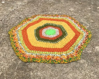 ON SALE •••• Vintage 1970's Retro Handmade Crocheted Throw Rug