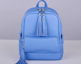 Blue Leather backpack - Cooper
