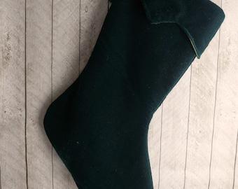 Ready to ship, dark green christmas stocking, traditional green stocking, velvet christmas stocking, hunter green