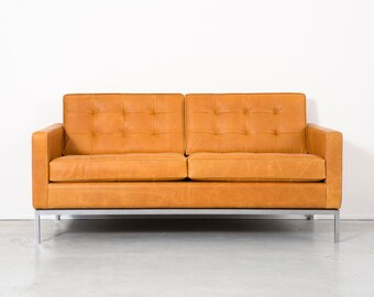 florence knoll leather settee
