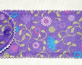 Eyeglass case, Sun glass case, lavender floral , snapped case,