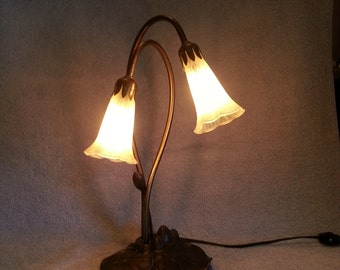 Angels Trumpet Lamp - Tulip Lamp - 2 Flowers - Lily Pad Lamp - Two Available