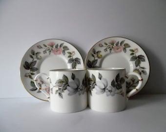 Vintage Royal Worcester fine bone china coffee cup and saucer set. china coffee cup and saucer duo