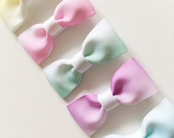Set of 5 Ombré bows - alligator clips, toddler bows, hair bows, pastel bows