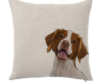 Throw Pillow Cover, Pet Pillow Cover, Brittany Spaniel, Portrait, Gifts for Dog Lovers, Cotton Throw Pillow, Cute Custom Pillows, Tote Tails