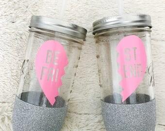 Best Friend - BFF - Mason Jar Glitter Tumbler - 24oz
