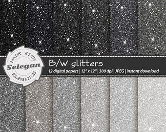 "Glitter Paper "" B/W glitters "" sparkling glitter paper digital scrapbook background black and white printable silver background"