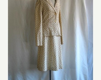 On Sale 1960's Corduroy Suit Top and Skirt Cream with Floral Rose Print