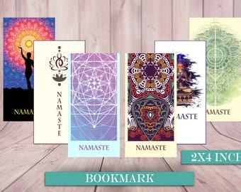 Bookmarks, Mandala bookmarks, Yoga bookmarks, Buddha Bookmarks, Esoteric, Elephant Bookmark, Yoga Tree pose, Sun Mandala, Watercolor