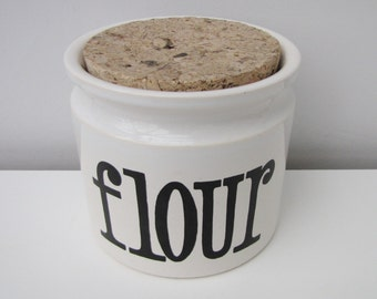 Vintage TG Green Spectrum Ceramic Flour Storage Canister Jar Container Retro Fab Black and White Kitchen