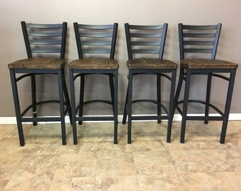 A Set of 4 Reclaimed Wood Seat With Ladder Back Metal- Restaurant Grade -30 Inch High Barstool