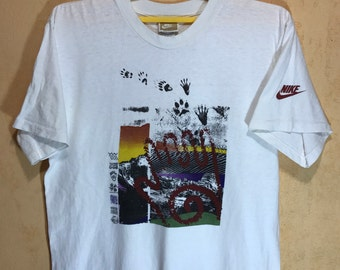 90s Vintage NIKE Art Outdoor Hiking T-shirt Made In Usa Adult Medium Size 21""