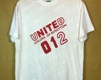 Rare United Colors Of Benetton T-shirt Spell Out Big Logo All Over Print XL Size
