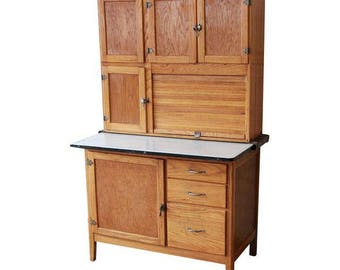 Antique Oak Hoosier Cabinet / All-In-One Baker's Cabinet