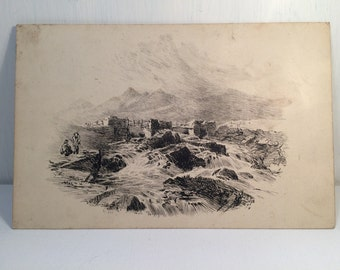 Original Victorian Pen and Ink - Dated 1879 - Victorian Art Drawing - Windswept River Fishing Old Bridge - Signed.
