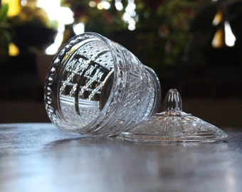 Clear Glass Sugar Bowl with Lid
