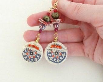 Earrings Bohemian Gypsy Ethnic Oriental African Morrocan Hippie, Dangle Earrings, Ceramic Pendant, Handmade Jewelry, Artisan Jewelry