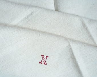 2 Large Square Hemp FRENCH VINTAGE TORCHONS, French Dish Towels, Tea Towels, French Hand Towels, Monogram N, 1910's