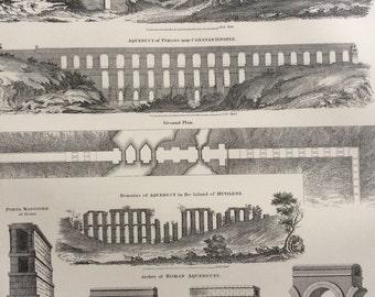 1875 Aqueduct Original Antique Steel Engraving Print - Architecture - engineering - wall decor - home decor