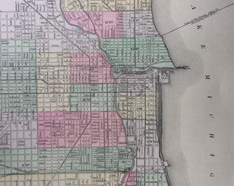 1888 CHICAGO original antique Mitchell Map - City Plan - City Map - Illinois - Wall Decor - Home Decor - Gift Idea