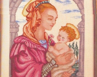 1 CROSS stitch, PATRON la MADONNA. Virgin with child. Famous cross stitch pictures.