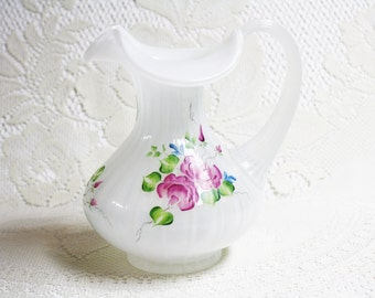 Fenton Art Glass, Vintage Fenton Pitcher, Fenton Handpainted Roses Pitcher, Fenton Ribbed Pitcher, Vintage Glass Pitchers, Signed Fenton